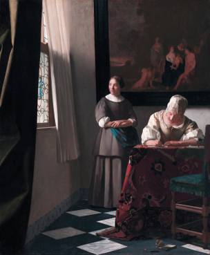 Woman_writing_a_letter,_with_her_maid,_by_Johannes_Vermeer