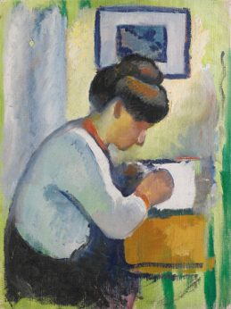 Woman Writing public by_August_Macke,_1910